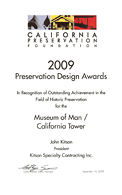 California Preservation Foundation Award 2009